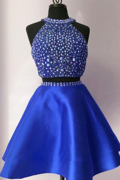 Royal Blue Two Piece Crystal Homecoming Dress, Halter Short Prom Dress