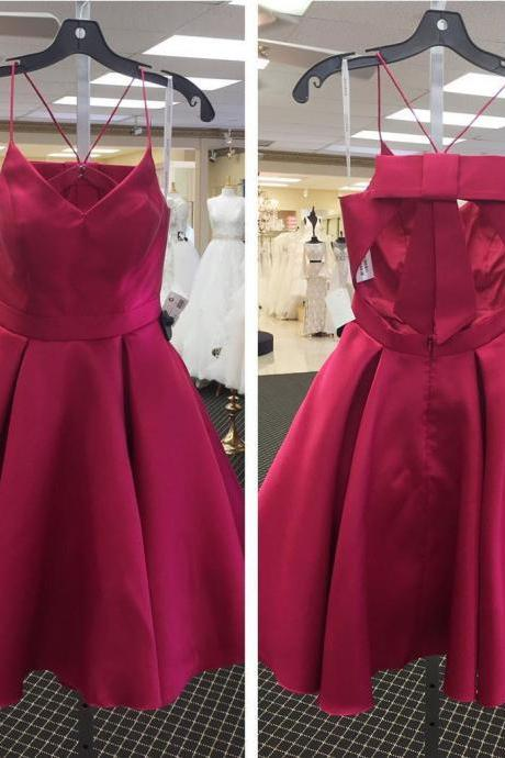 Cute Burgundy Homecoming Dress, Bow Back Short Prom Dresses