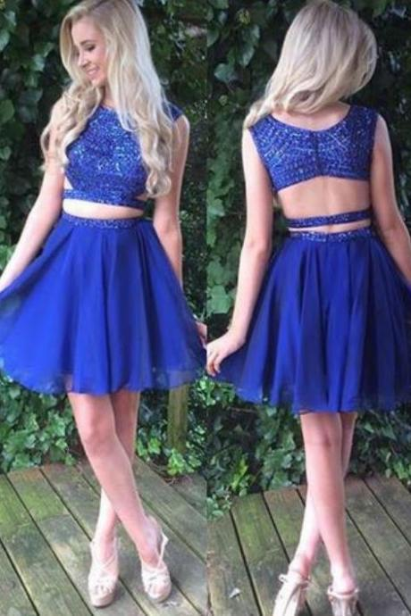 Two Piece Royal Blue Chiffon Homecoming Dress