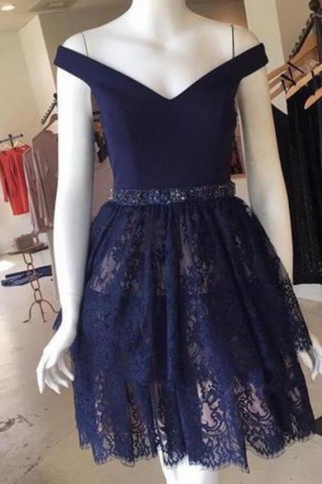 Navy Blue Lace Homecoming Dress, Short Prom Dress