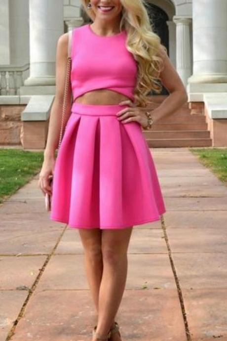 Hot Pink Homecoming Dress, Two Piece Short Homecoming Dresses