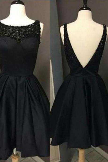 Black Beaded Homecoming Dress, Open Back Homecoming Dress