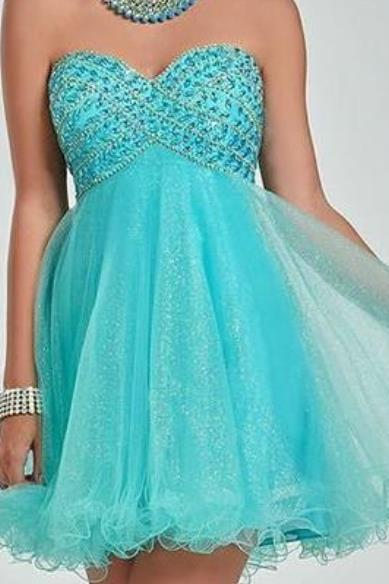 Mint Sweetheart Tulle Homecoming Dress with Beadings