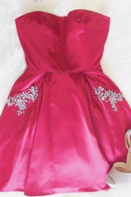 Cute Pink Sweetheart Beaded Homecoming Dress