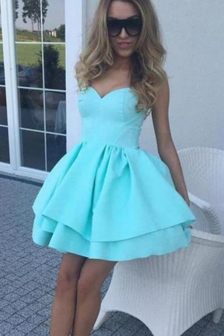Simple Mint Sweetheart Homecoming Dresses