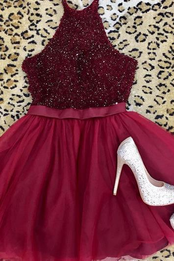 Halter Red Beading Homecoming Dress, Cute Short Prom Dress
