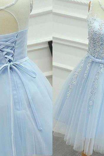 Baby Blue Strapless Homehoming Dress, Chiffon Homehoming Dress