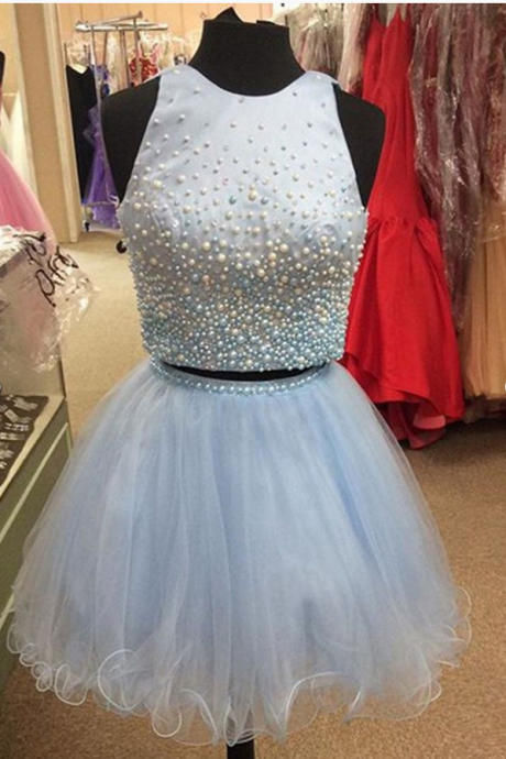Blue Tulle Peal beaded Homecoming Dress, Strapless Short Cute Homecoming Dress