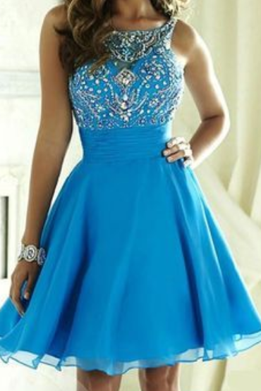 Blue Chiffon Beaded Strapless Homecoming Dress