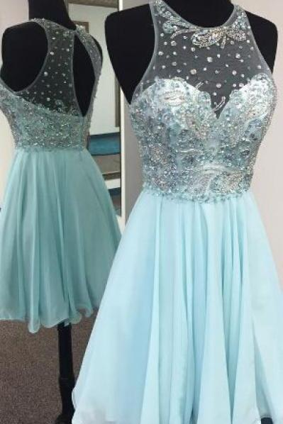 Blue Beaded Chiffon Sheer Strapless Homecoming Dress
