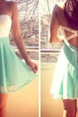 Mint Sweetheart Chiffon Homecoming Dress,Open Back Sexy Homecoming Dress