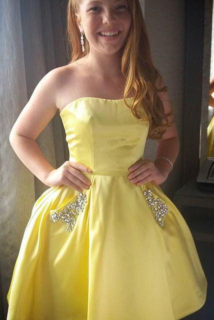 Yellow Beading Homecoming Dress, Short Homecoming Dress with Pockets