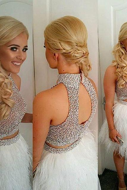 Luxurious Two Piece High Neck Short Fur Homecoming Dress with Open Back