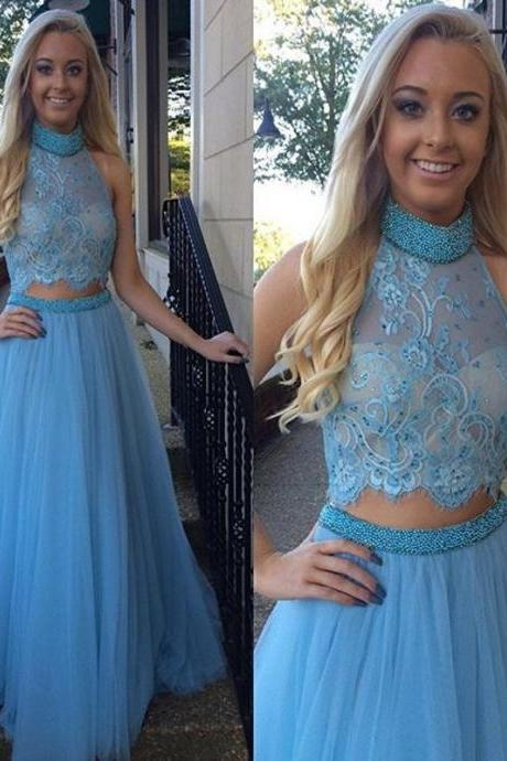 High Collar Two Piece Prom Dress, Blue Beading Tulle Evening Gown