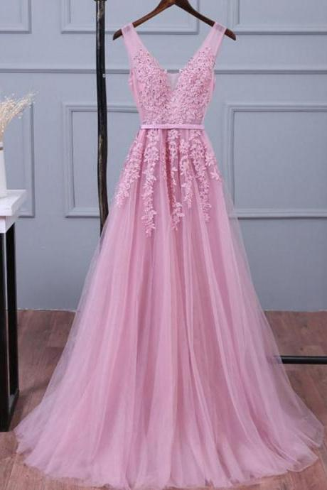 Baby Pink V-neck Tulle Prom Dresses with Appliques
