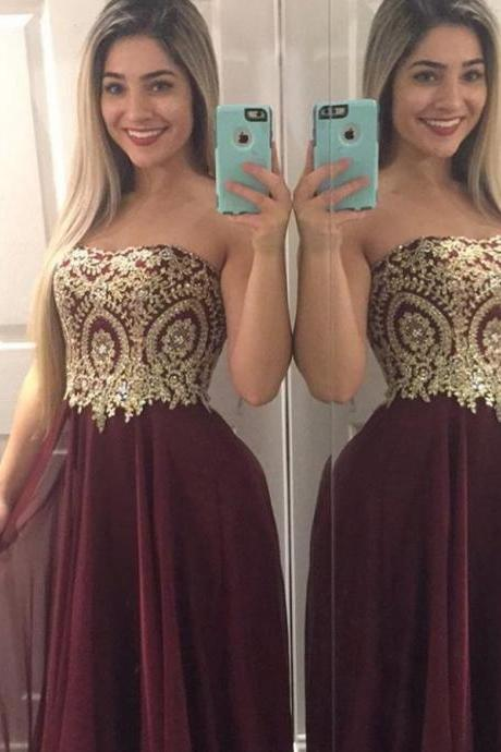 Burgundy Red Strapless Beading Applique Prom Dresses Evening Dresses