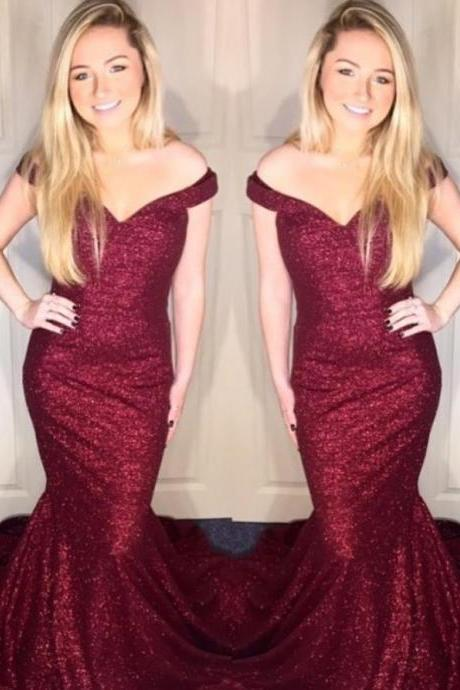 Sequine Off Shoulder Burgundy Red Prom Dresses Mermaid Evening Dresses