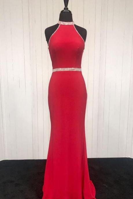 Red Halter Jersey Prom Dresses Beading Evening Formal Dresses