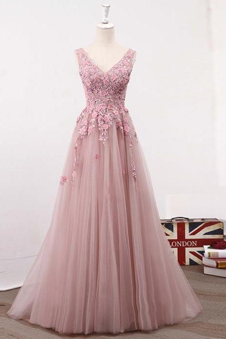 Blush Pink V Neckline Two Straps Lace Applique Prom Dresses Evening Dress