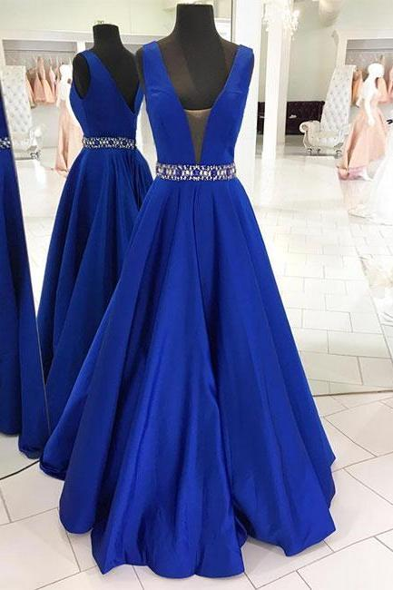 A Line Blue Prom Dresses Beaded Waist Evening Dresses