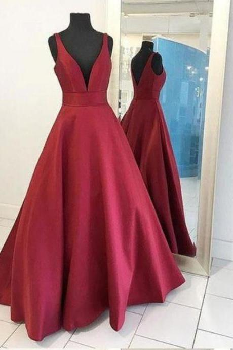 Burgundy Red Long V Neck Red Prom Gowns Dresses Evening Dress