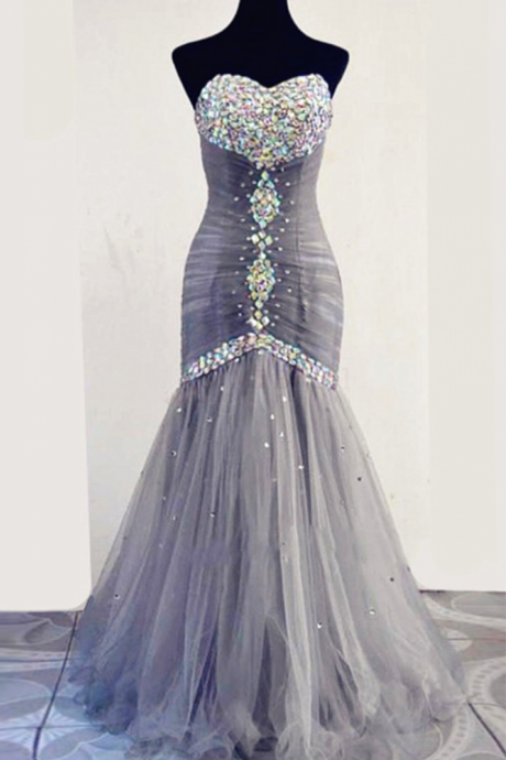 Long Light Grey Sweetheart Mermaid Prom Dresses Tulle Evening Dresses