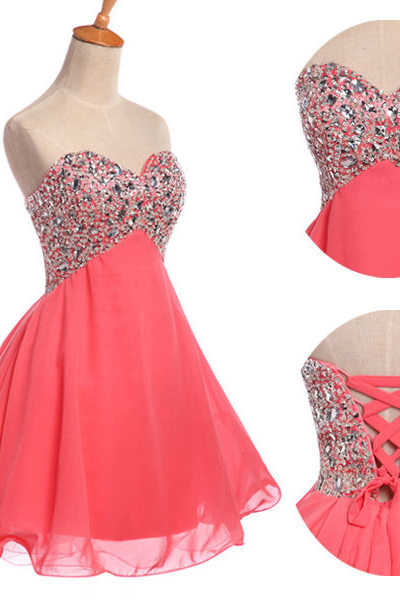 Custom Made Short Prom Dress, Pink Homecoming Dress, Short Homecoming Dresses, Cheap Graduation Dress, Sparkly Party Dress, Sweetheart neckline Prom Dress, Cocktail Party Dresses