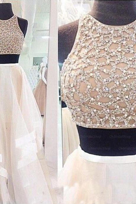 Custom Made White Two Pieces Prom Dresses 2015, Party Dresses 2015, Formal Dresses 2015, Evening Dresses, Homecoming Dress, Wedding Dress New