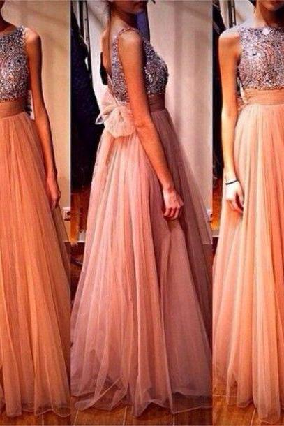 Elegant Champagne Tulle Prom Dress, Open Back Evening Dress, Long Formal Dress