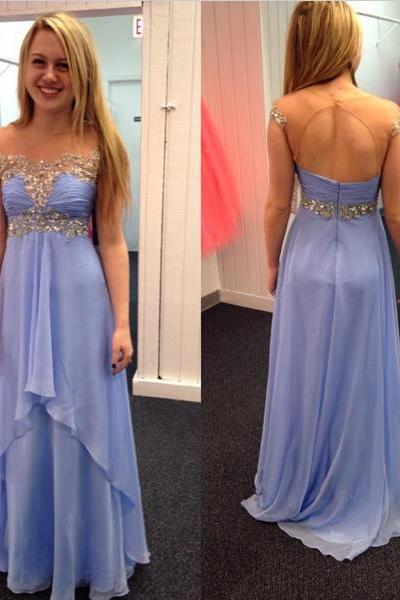 Open Back Purple Long Prom Dress, Lovely Cap Sleeve Party Dress