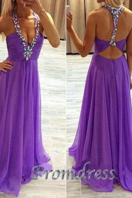 Custom Purple prom dress, Long Prom dress, Backless Prom Dress, v-neck Prom Dress, Formal Prom Dress, Sequin Prom Dress, Formal Dresses