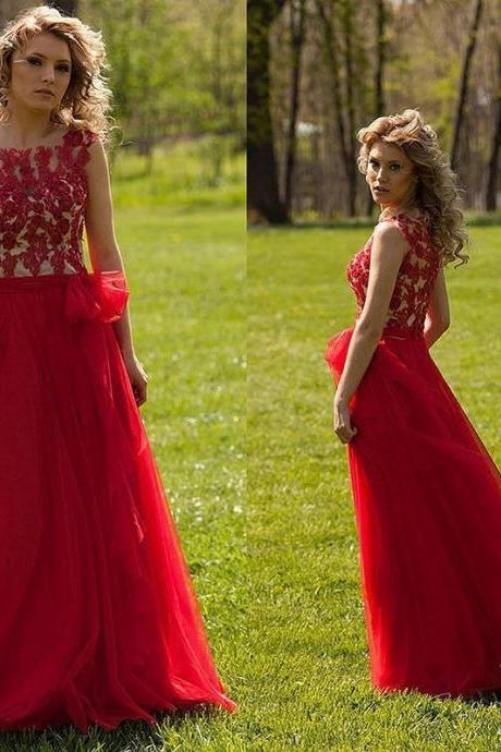 Red Lace Prom dress, Red Prom dress 2016, Long Red Prom Dress, Red Evening Dresses, Red Prom Dresses