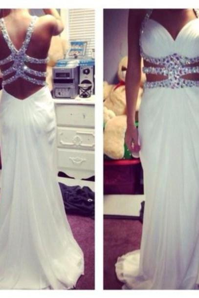Fashion White Sexy Cross Back Prom Dresses 2016, White Formal Prom Dresses, Cross Back Evening Dresses, White Prom Gowns