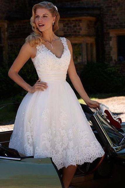 Ivory Homecoming Dresses, Short Ivory Prom Dress, Ivory Prom Gowns, Lace Homecoming Dresses, Short Wedding Dresses