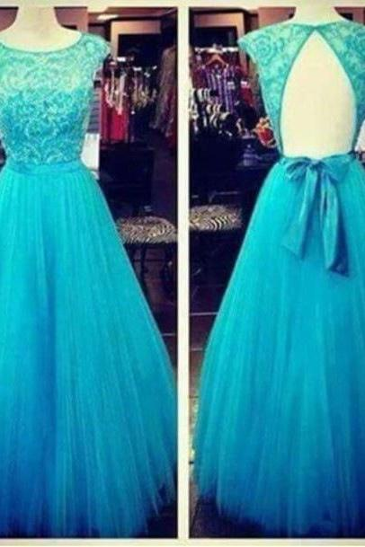 Open Back Prom dresses, Backless Lace Prom dresses, Blue Prom Dress, Backless Evening Dresses, A Line Evening Dresses