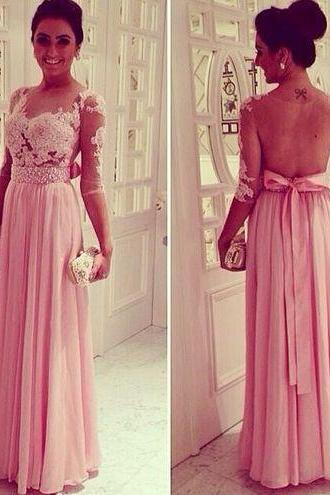 A Line Sweetheart Prom Dresses, Open Back Prom Dresses, Backless Evening Dresses, Evening Dresses, Pink Evening Dress
