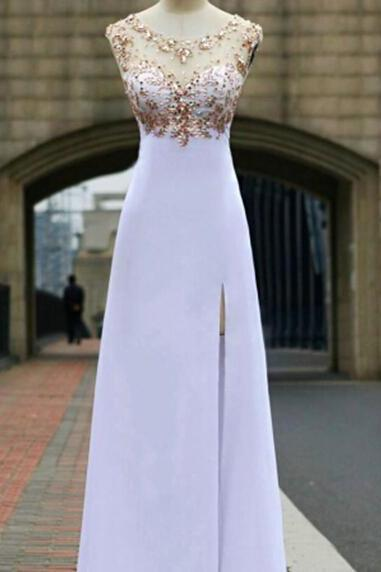 White Chiffon Open Back Long Prom Dresses Backless Prom Dresses