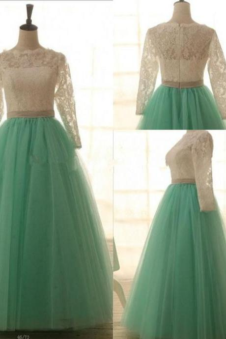 Lace Mint Ball Gown Prom Dresses, Mint Evening Dresses, Lace Party Dresses, Prom Ball Gown