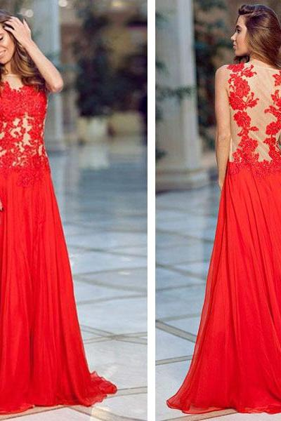 See Through Prom Dresses, Red Prom Dresses, Red Prom Dress, Lace Prom Dress, Red See Through Evening Dresses