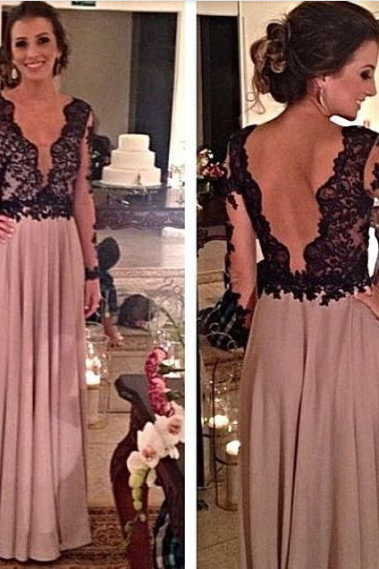 Black Lace Prom Dresses, Backless Prom Dresses, Backles Evening Dresses, Black Lace Formal Dresses