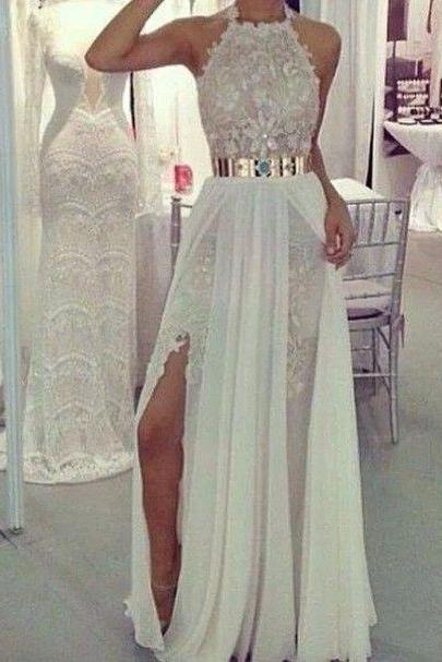 Lace White Prom Dresses, White Prom Dresses, White Lace Evening Dresses, Whtie Formal Dresses