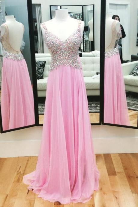 Prom Dresses, Pink Prom Dresses, A Line Pink Prom Dress,Sequine Prom Dresses, Pink Evening Dress