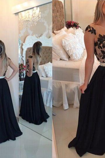 Black Lace Prom Dresses, Backless Prom Dresses, Backles Evening Dresses, Black Lace Formal Prom Dresses