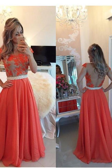 Red Lace Prom Dress, Backless Prom Dress, Backless Evening Dress, Red Lace Formal Prom Dress