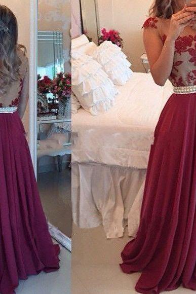 Lace Prom Dress, Backless Prom Dress, Backless Evening Dress, Lace Formal Prom Dresses