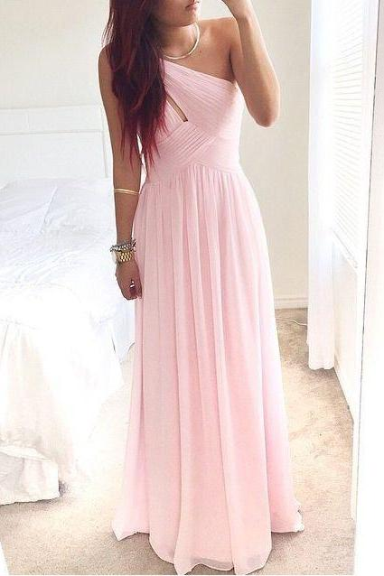 Prom Dresses, One Shoulder Prom Dresses, Pink Prom Dresses 2016, One Shoulder Pink Evening Dresses