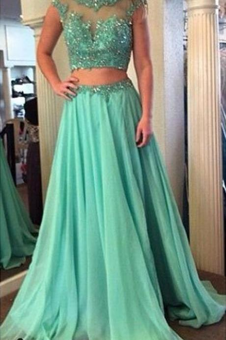 Two Pieces Prom Dresses, Long Two Pieces Prom Formal Dress, Two Pieces Evening Dress