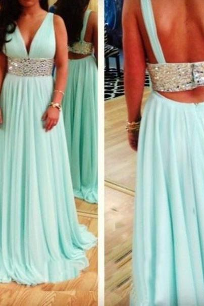 Charming Prom Dress,Two Pieces Prom Dress,A-Line Prom Dress,Chiffon Prom Dress,Beading Evening Dress
