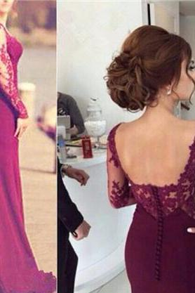 Charming Prom Dress,O-Neck Prom Dress,Sexy Mermaid Prom Dress,Appliques Prom Dress,Long-Sleeves Prom Dress