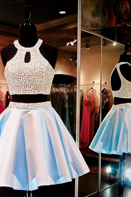 Charming Homecoming Dress,Organza Homecoming Dress,Two Pieces Homecoming Dress,Beading Homecoming Dress